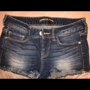 Express dark denim shorts 00